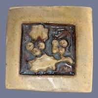 Scott Weaver Pottery Tile Mission Arts Crafts Berries Leaves