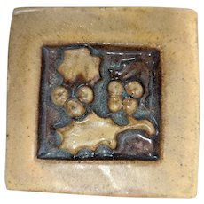 Scott Weaver Pottery Tile Mission Arts Crafts Berries Leaves