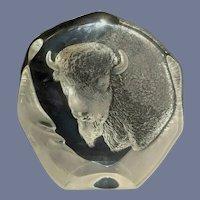 Mats Janasson Buffalo Crystal Sculpture 2535 Paperweight