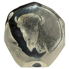Mats Janasson Buffalo Crystal Sculpture 2535 Paperweight