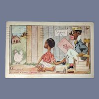 Black Americana Postcard Chicken Shoe Shine Two Souls Single Thought
