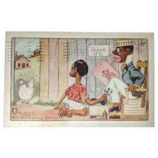 Black Americana Postcard Chicken Shoe Shine Two Souls Single Thought