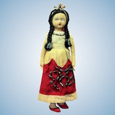 """11"""" Vintage Cloth Native American Indian Girl Doll"""
