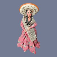 """12"""" Vintage Hard Face Cloth Doll Mexican Spanish Woman"""