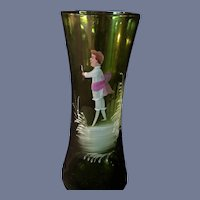 """7"""" Unsigned Vintage Green Glass Boy with Bow Mary Gregory Vase"""