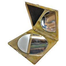 Excellent Vintage Early Plastic Faux Tortoise Shell Compact