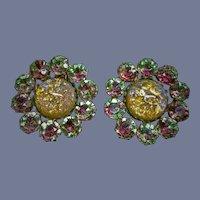 "Large 1.5"" Vintage Watermelon Opalescent Rhinestone Clip Earrings"