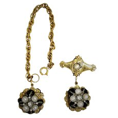 Antique Gold Tone Watch Fob Chatelaine Pin Faux Pearl Stone