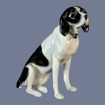 "Vintage 5"" Fritz Pfeffer Porcelain Black White Dog Pointer Figurine"