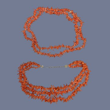 Vintage Natural Coral Double and Single Branch Necklaces Clasp