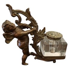 "6"" 19th Century Bronze Finish Fairy Cherub Inkwell"