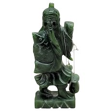 "4"" Vintage Chinese Spinach Green Jade Happy Fisherman"
