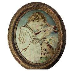 19th Century Religious Needlepoint Embroidery Boy Skull Crucifix