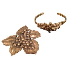 Joseff of Hollywood Grape Leaf Cluster Brooch Pin Bracelet