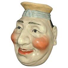 """9"""" Antique Majolica Sarreguemines Man Head Face Jug"""