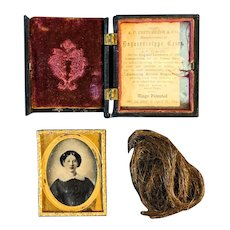 Lovely Antique Daguerreotype Hand Painted Woman Momento Mori Hair