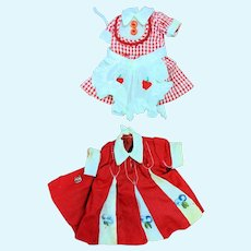 Pair of Topper Penny Brite Doll Dresses Red Check 1066 Dinette