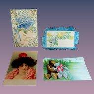 Set Four Antique Postcard Mohair Silk Embossed Woman Birds Teddy bear