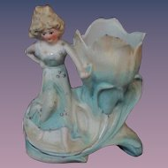 Lovely Little Match Holder or Spill Vase Girl with Flower