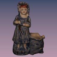 Antique Match Holder or Spill Vase Dutch Girl Blue