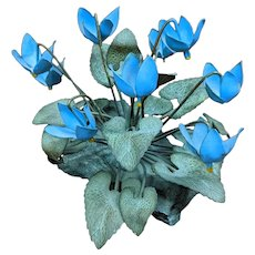 Vintage Blue Cyclamen Metal Flower Sculpture by Demetrios NJ