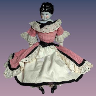"""23"""" Antique Bubble Head Low Brow China Doll"""