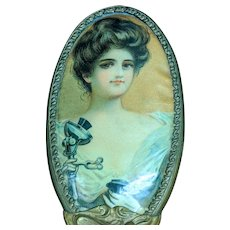 "Unusual 8.5"" Vintage Gold-tone Hair Brush Gibson Girl Mermaid Early Telephone"