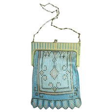 Beautiful Original 1920's WHITING DAVIS Mesh Flapper Bag Pastel Enamel 2