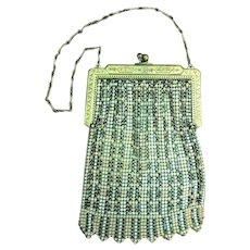 Beautiful Original 1920's WHITING DAVIS Mesh Flapper Bag Pastel Enamel