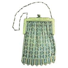 Beautiful Original 1920's WHITING DAVIS Mesh Flapper Bag Pastel Enamel