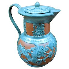 "7"" Yixing Zisha Chinese Pewter and Terracotta Coffee Pot"