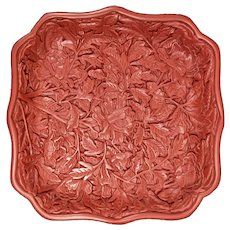 "6"" Floral Design Asian Chinese Cinnabar Plate"