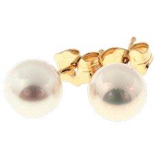 6mm Akoya Cultured Pearl 14 Karat Yellow Gold Earrings.
