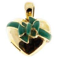 18 Karat Gold Green Enamel Bow Locket Pendant