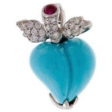 Turquoise Diamond Ruby 18 Karat White Gold 3-D Heart Pendant Pin