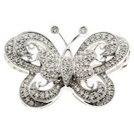 Pave Diamond 18 Karat White Gold Butterfly Pin