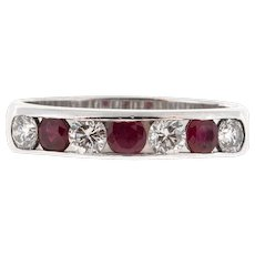 Platinum .32ct Diamond Red Ruby Channel Wedding Band Ring