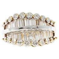 Diamond Round Baguette 18 Karat Yellow White Gold Cocktail Ring