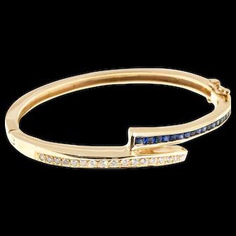 .50 Carat Diamond Sapphire 14k Yellow Gold Bangle Bracelet.
