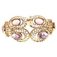 Oval Amethyst 18 Karat Yellow Gold 1950s Hinged Bracelet