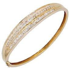 1.66 Carat Diamond 14k Yellow Gold Hinged Bangle Bracelet