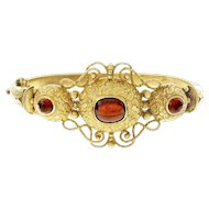 Victorian Cabochon  Garnet 14 Karat Yellow Gold Bangle Bracelet