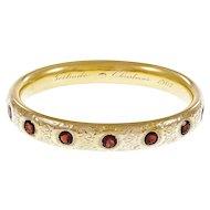 Victorian Garnet Hand Engraved 18 Karat Yellow Gold Bangle Bracelet
