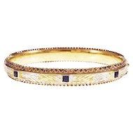 Art Deco Natural Sapphires 18 Karat Yellow White Gold Bangle Bracelet