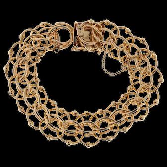 14k Yellow Gold Circle Link Bead Bracelet