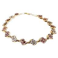 Tourmaline Topaz Amethyst Tanzanite Link Bracelet Multi Stone 14 Karat Yellow Gold Link Bracelet