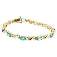 "Blue Topaz Diamond 14 Karat Yellow Gold Hinged ""S"" Link Bracelet"