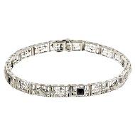 Diamond Onyx 14 Karat White Gold  Art Deco Filigree Bracelet
