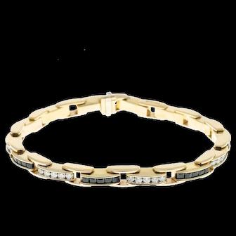 1.40 Carat Diamond Sapphire 14k Yellow Gold Bracelet