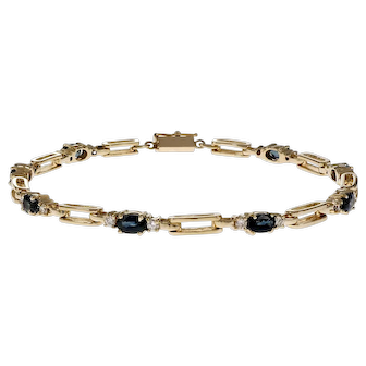 .40 Carat Sapphire Diamond 14k Yellow Gold Bracelet